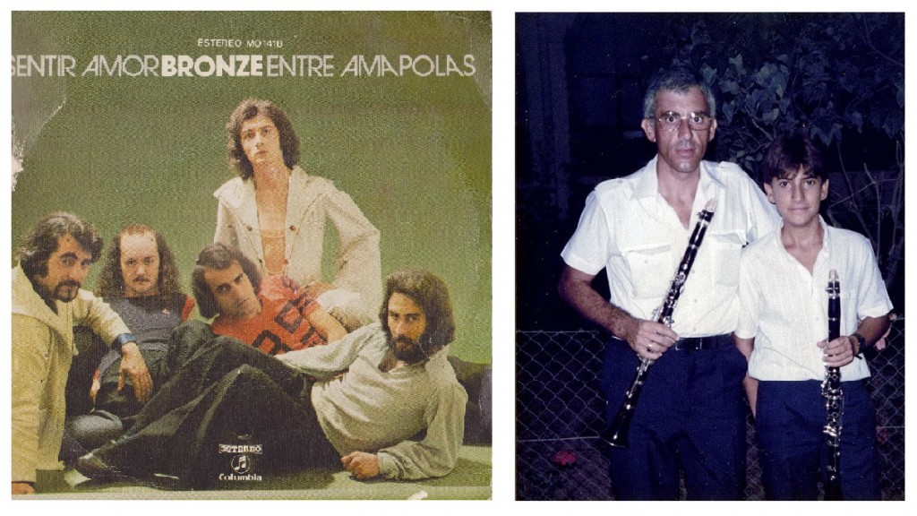 My cousin Plàcido Forteza (with orange T-shirt) with his band Bronze. And my other cousin Pascual Martínez with his son Pascual Jr, who is nowadays playing with the New York Philharmonic Orchestra
